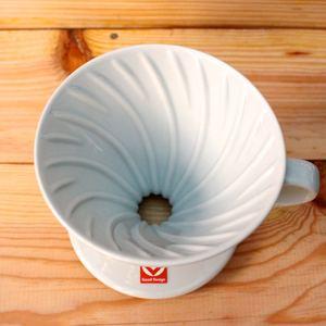 Hario|日本有田燒手沖陶瓷濾杯-白色(VDC-02W)