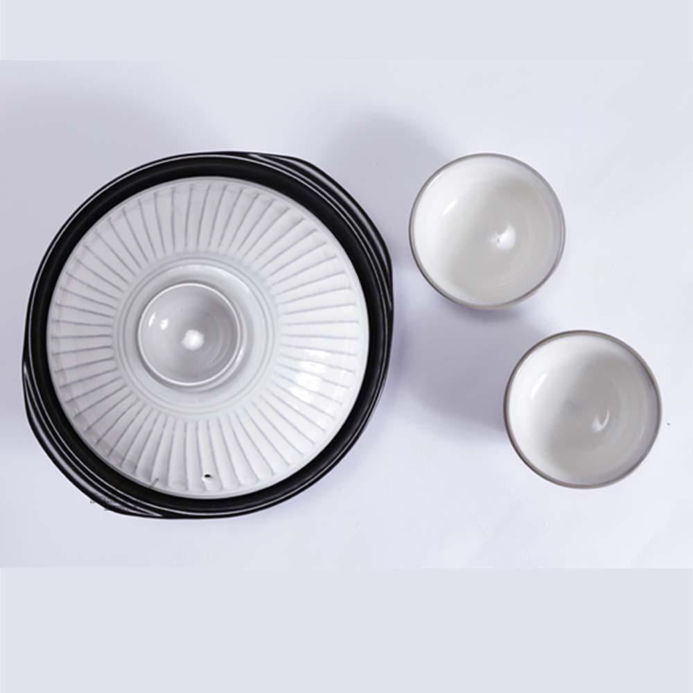 日本銀峯|28cm菊花9號土鍋+陶碗x2 (粉引) (日本限定組)