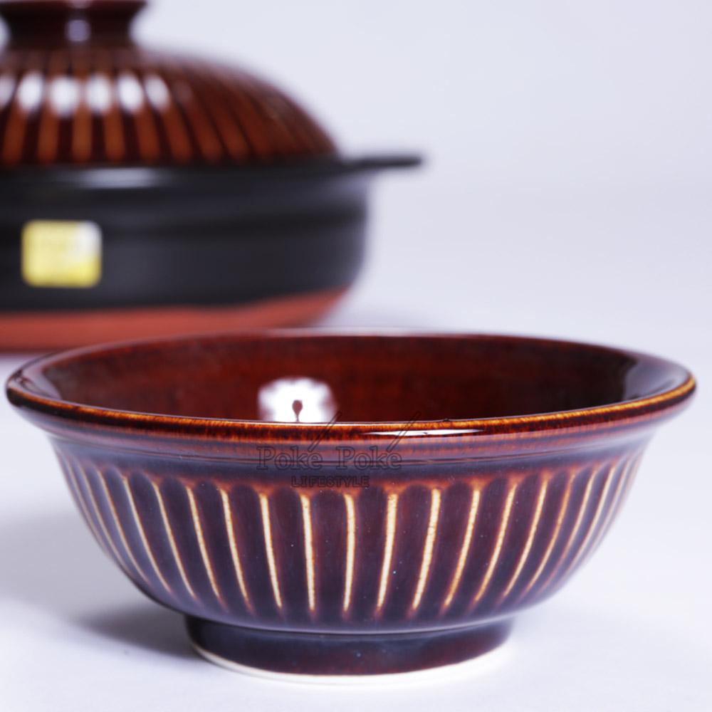 日本銀峯|菊花陶碗 (飴釉棕)