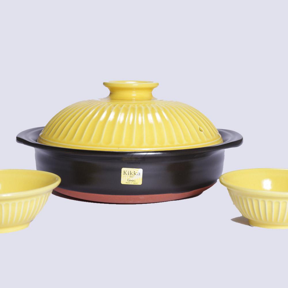 日本銀峯|菊花陶碗 (山吹黃)