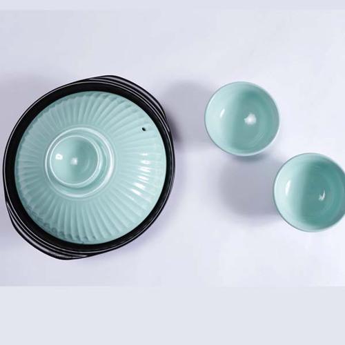 日本銀峯|菊花陶碗 (青磁)