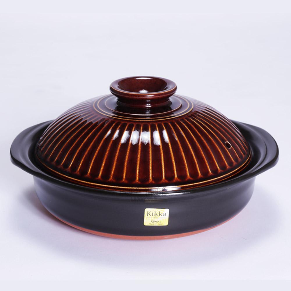 日本銀峯 | 28cm菊花9號土鍋 (飴釉棕)