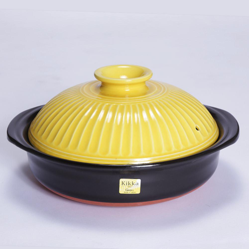 日本銀峯 | 28cm菊花9號土鍋 (山吹黃)