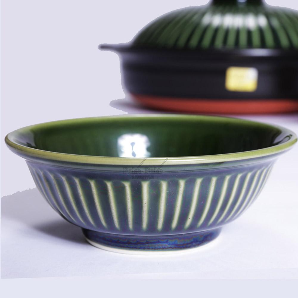 日本銀峯 菊花陶碗 (織部綠)