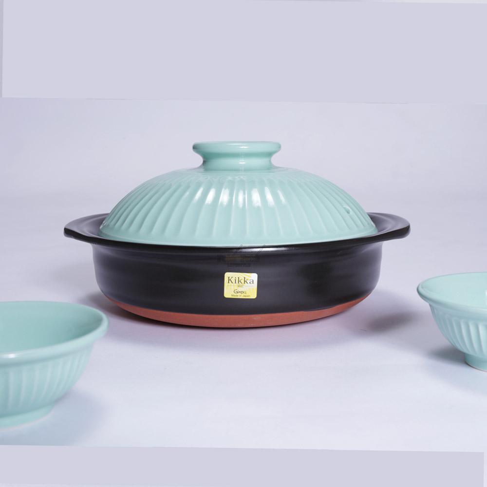 日本銀峯   24cm菊花9號土鍋+陶碗x2 (青磁) (日本限定組)