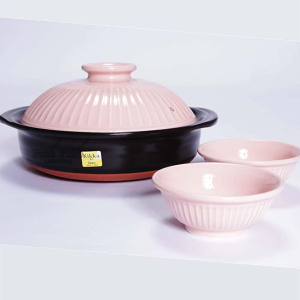 日本銀峯 | 24cm菊花9號土鍋+陶碗x2 (櫻花) (限量超值組)