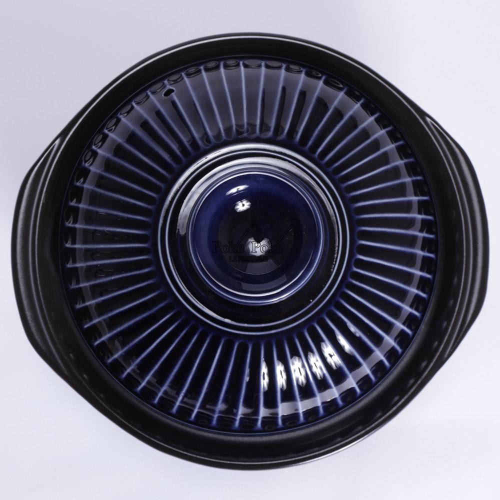 日本銀峯 24cm菊花9號土鍋+陶碗x2 (琉璃藍) (限量超值組)