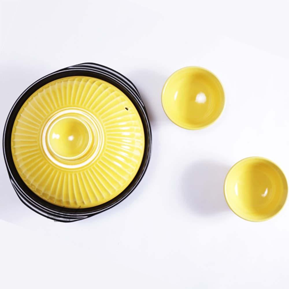 日本銀峯   24cm菊花9號土鍋+陶碗x2 (山吹黃) (限量超值組)