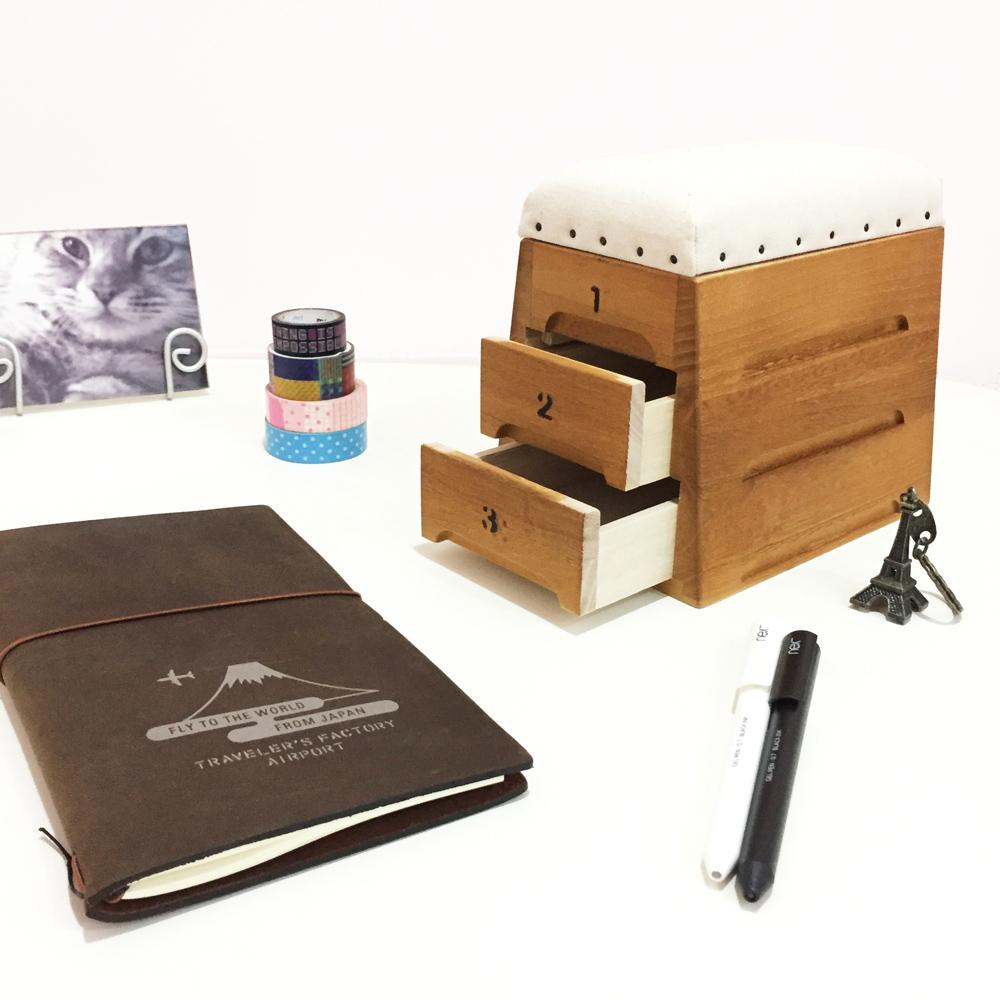 日本豊田産業   跳箱造型木製迷你收納盒-Timon抽屜3層