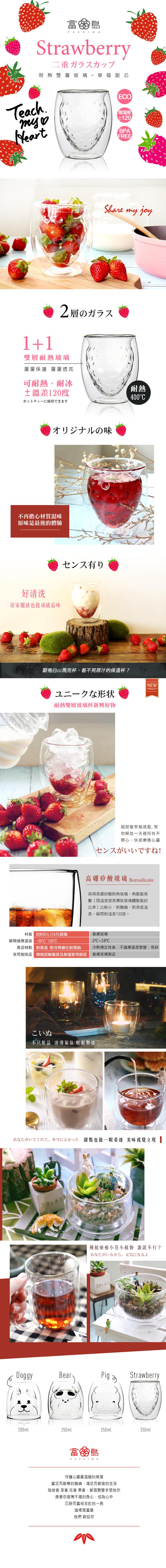 (複製)FUSHIMA 富島|2018年度限定-雙層耐熱玻璃杯Cutie熊250ML