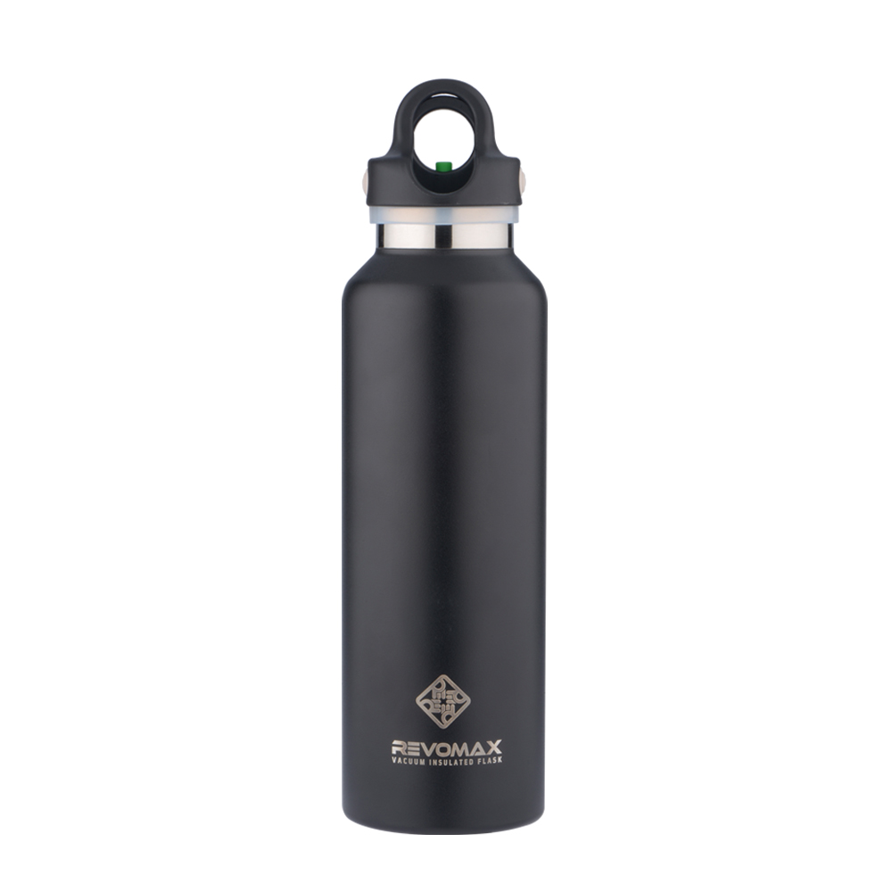 REVOMAX 316不鏽鋼保溫保冰秒開瓶592ML(時尚黑)