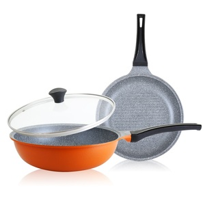 韓國DITTO|輕量不沾大理石雙鍋3件組(炒鍋28CM+煎烤鍋28CM+鍋蓋)-亮麗橙