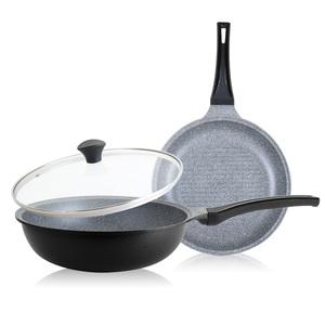 韓國DITTO|輕量不沾大理石雙鍋3件組(炒鍋28CM+煎烤鍋28CM+鍋蓋)-時尚黑