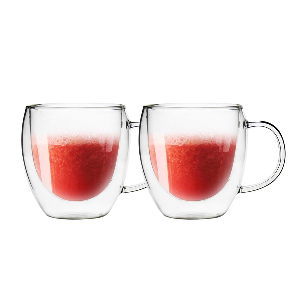 FUSHIMA 富島|經典系列雙層耐熱玻璃杯260ML(把手)*2入