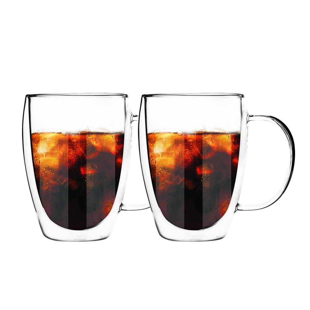 FUSHIMA 富島|經典系列雙層耐熱玻璃杯350ML(把手)*2入