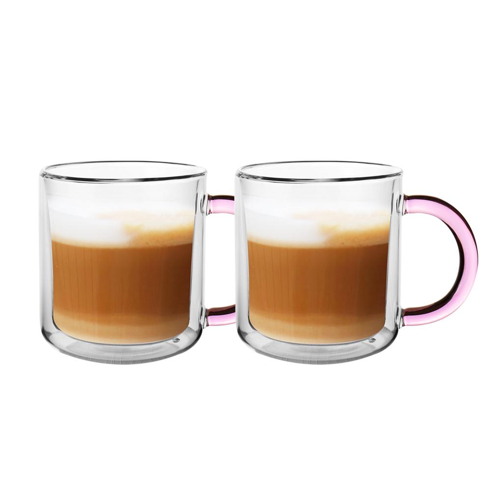 FUSHIMA 富島 經典系列雙層耐熱玻璃杯400ML-粉色(把手)*2入