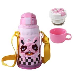 BEDDY BEAR|兒童可背式保溫保冷水壺600ML(粉紅小兔)