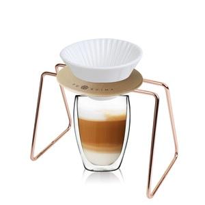 【母親節限量包裝】日本FUSHIMA富島 風雅白色陶瓷濾杯+木片+玫瑰金鐵架+雙層玻璃杯350ML