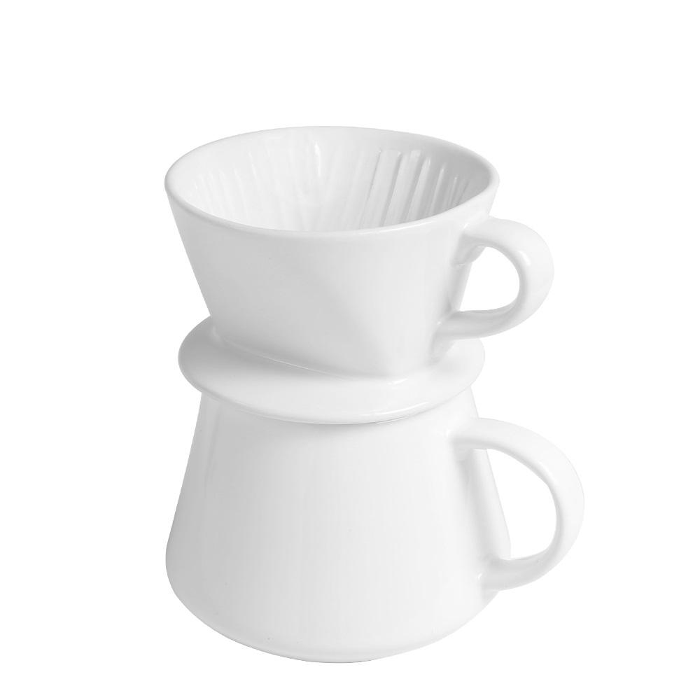 日本FUSHIMA富島 Tlar陶瓷職人濾杯+陶瓷杯優雅組(白濾杯+白陶瓷杯)