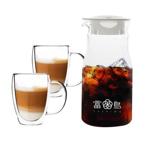 日本FUSHIMA富島|簡約風杯壺組(分享壺600ML+玻璃杯350ML(把手)*2)