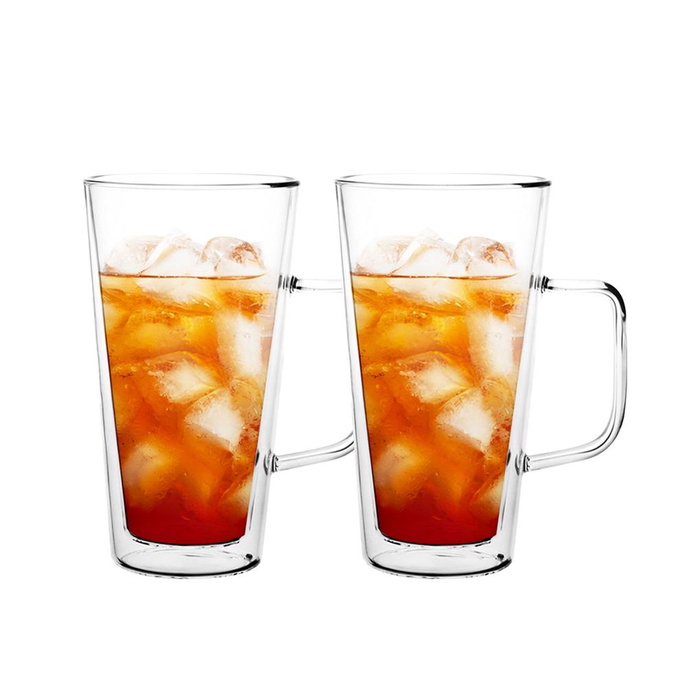 FUSHIMA 富島|經典系列雙層耐熱玻璃杯500ML(把手)*2入