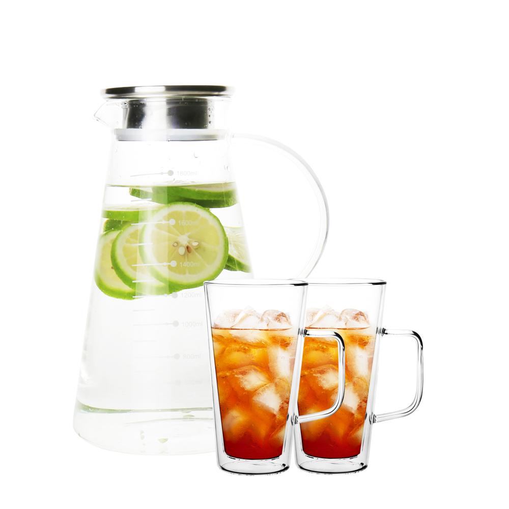 日本FUSHIMA富島|典雅風杯壺組(冷水壺1800ML+玻璃杯500ML(把手)*2)