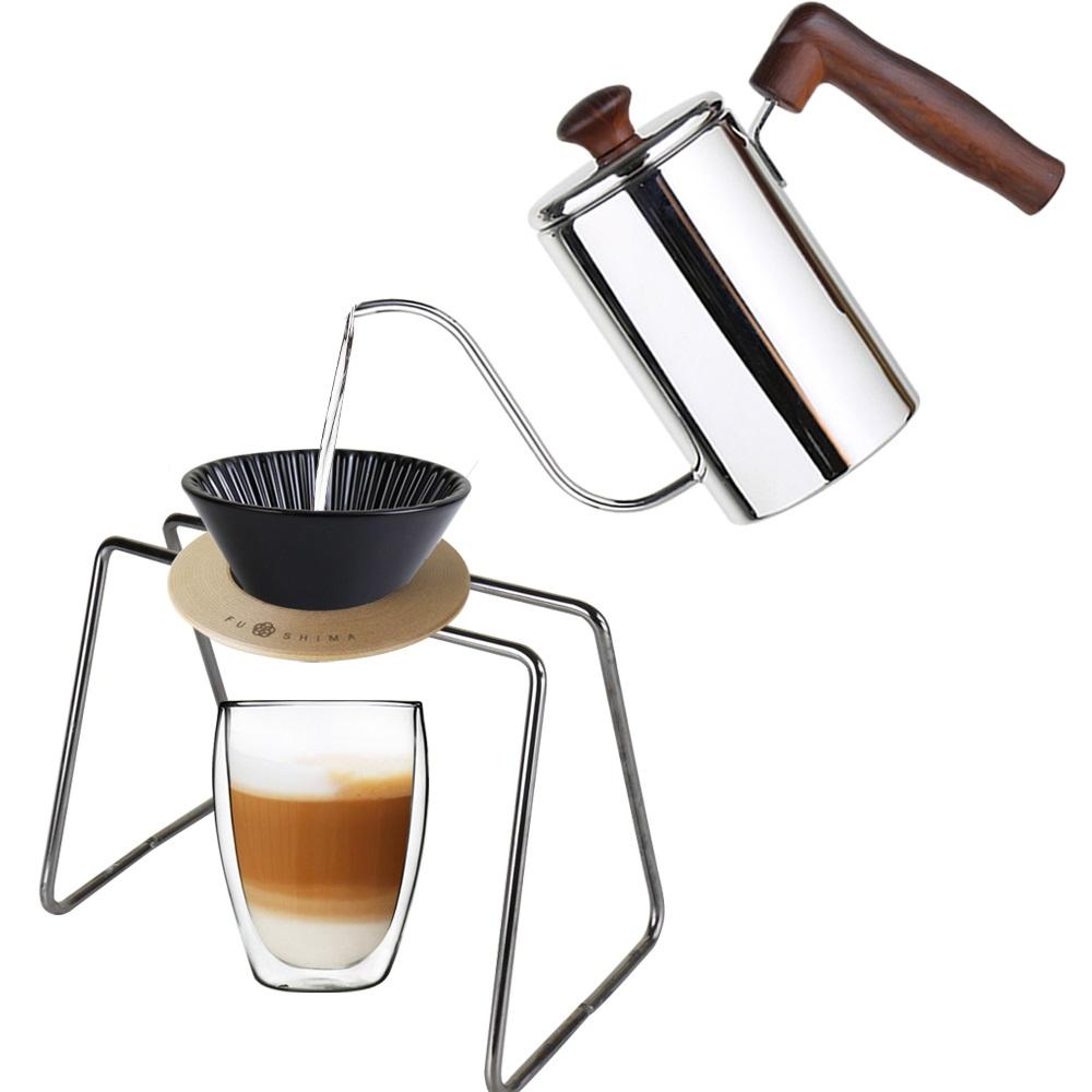 FUSHIMA 富島|手沖系列經典組-細嘴壺+黑濾杯+木片+金屬色鐵架+雙層玻璃杯350ML