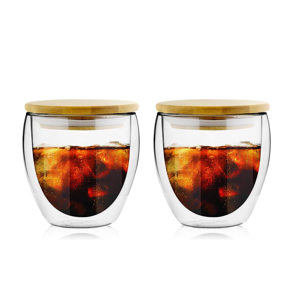 FUSHIMA 富島|經典系列雙層耐熱玻璃杯260ML(附專屬竹蓋)*2入
