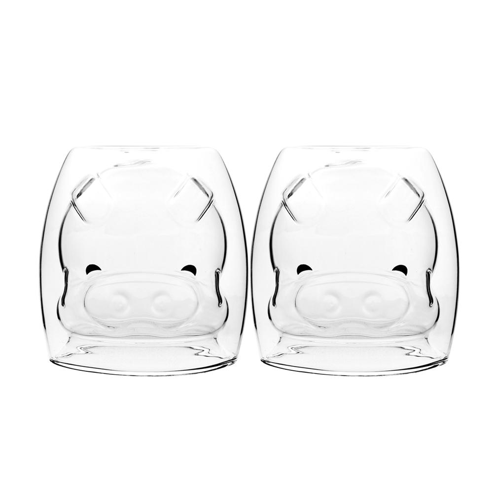 FUSHIMA 富島|2018年度限定-雙層耐熱玻璃杯Happy豬250ML*2入