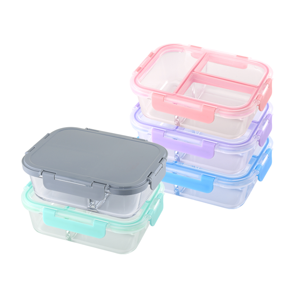美國 Winox|專利4D全隔玻璃保鮮盒長形3格1000ML(5色可選)