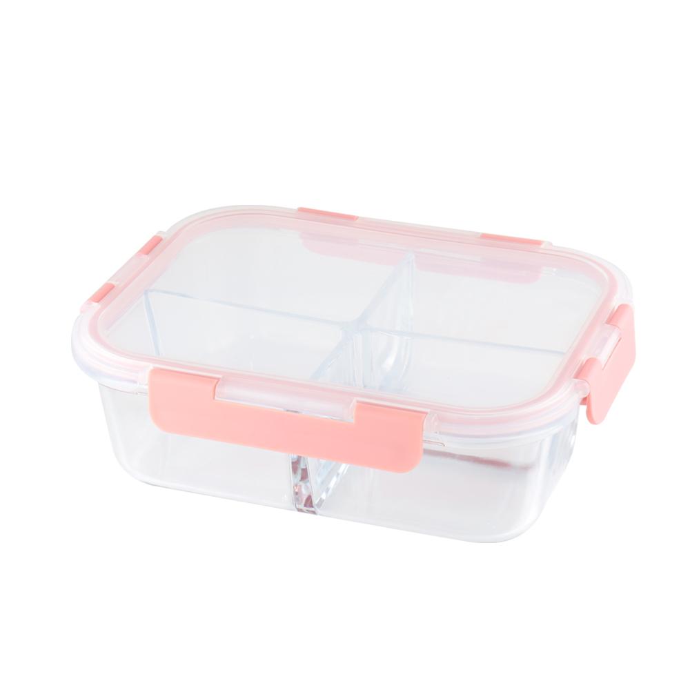 美國 Winox|安玻分隔玻璃保鮮盒長形4格1500ML*2入#68