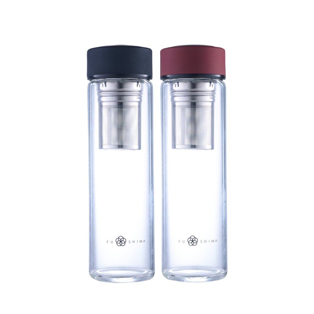 FUSHIMA 富島|禪風雅單層厚底玻璃隨手瓶550ML附長濾網(2色可選)