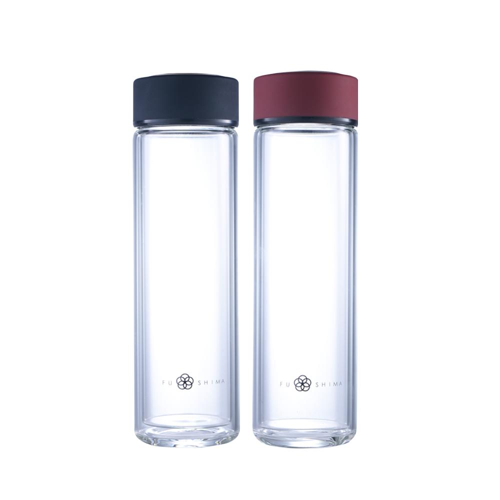 FUSHIMA 富島|禪風雅雙層隔熱厚底玻璃隨手瓶430ML(2色可選)