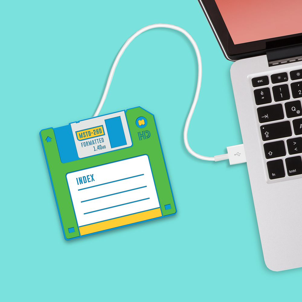 英國 Mustard | USB 保溫杯墊 - 磁碟片(綠)