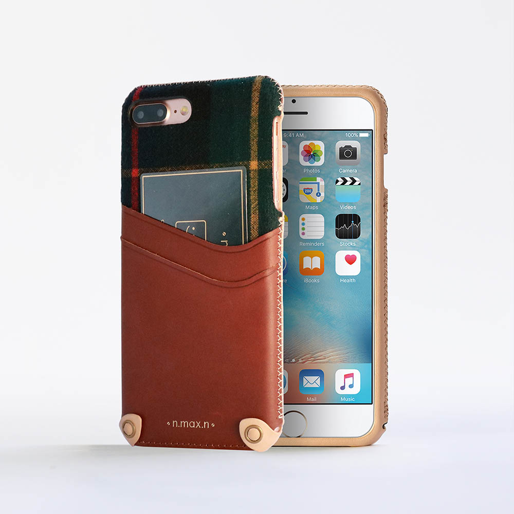 n.max.n iPhone 7 PLUS / 5.5吋 新極簡混搭款皮革保護套 - 馬鞍棕