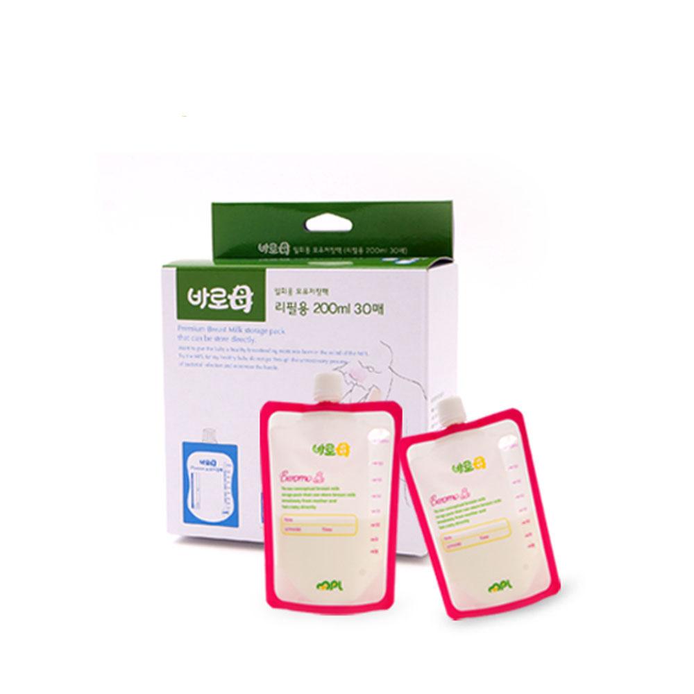 韓國MPL|BAROMO 寶食樂母乳餵奶神器組-母乳袋補充包3盒組 (200ml X 30入X3盒)