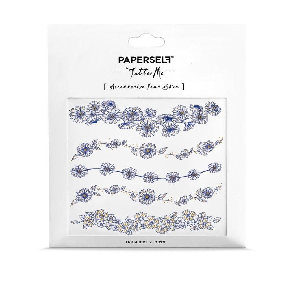 PAPERSELF|雛菊手鍊 刺青紋身貼紙 Daisy bloom(金)