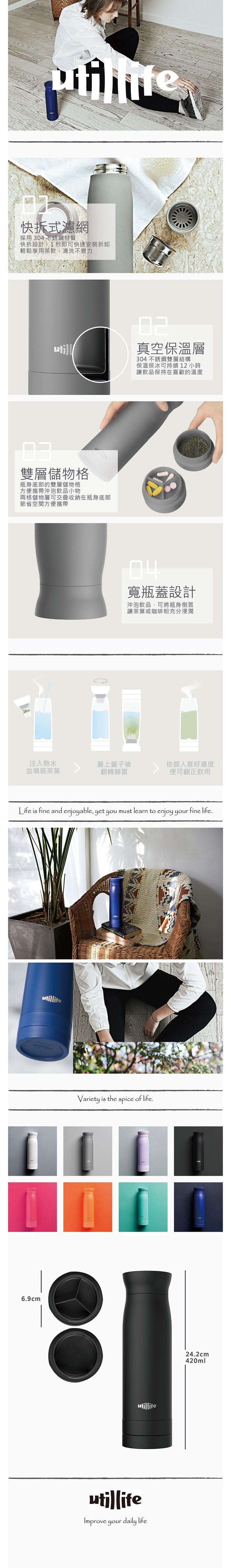 Utillife |輕盈收納304不銹鋼保溫瓶(420ml) - 藍色