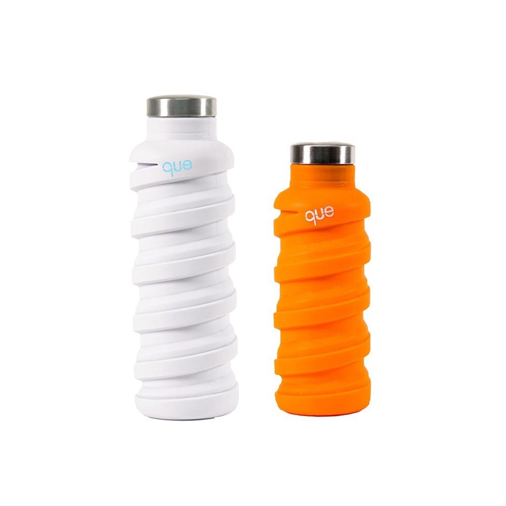 que Bottle|伸縮水瓶(600ml) - 香草白+(355ml)活力橘