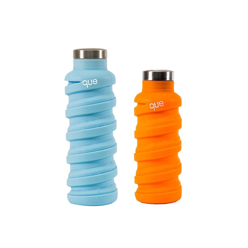 que Bottle|伸縮水瓶(600ml) - 湖水藍+(355ml)活力橘