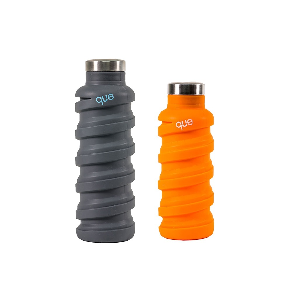 que Bottle|伸縮水瓶(600ml) - 沈穩灰+(355ml)活力橘