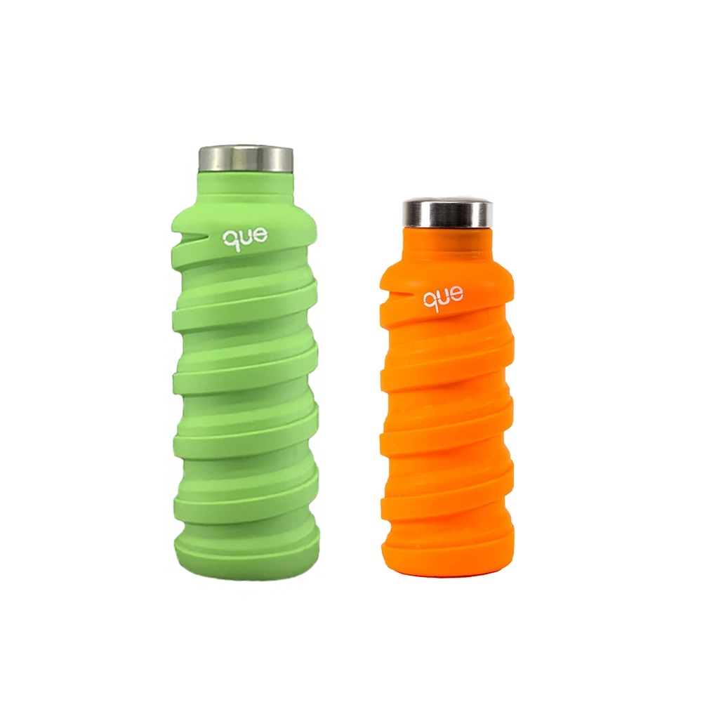 que Bottle|伸縮水瓶(600ml) - 螢光綠+(355ml)活力橘