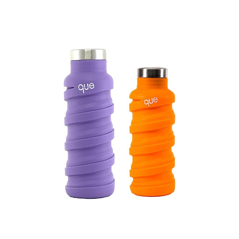 que Bottle|伸縮水瓶(600ml) - 薰衣紫+(355ml)活力橘