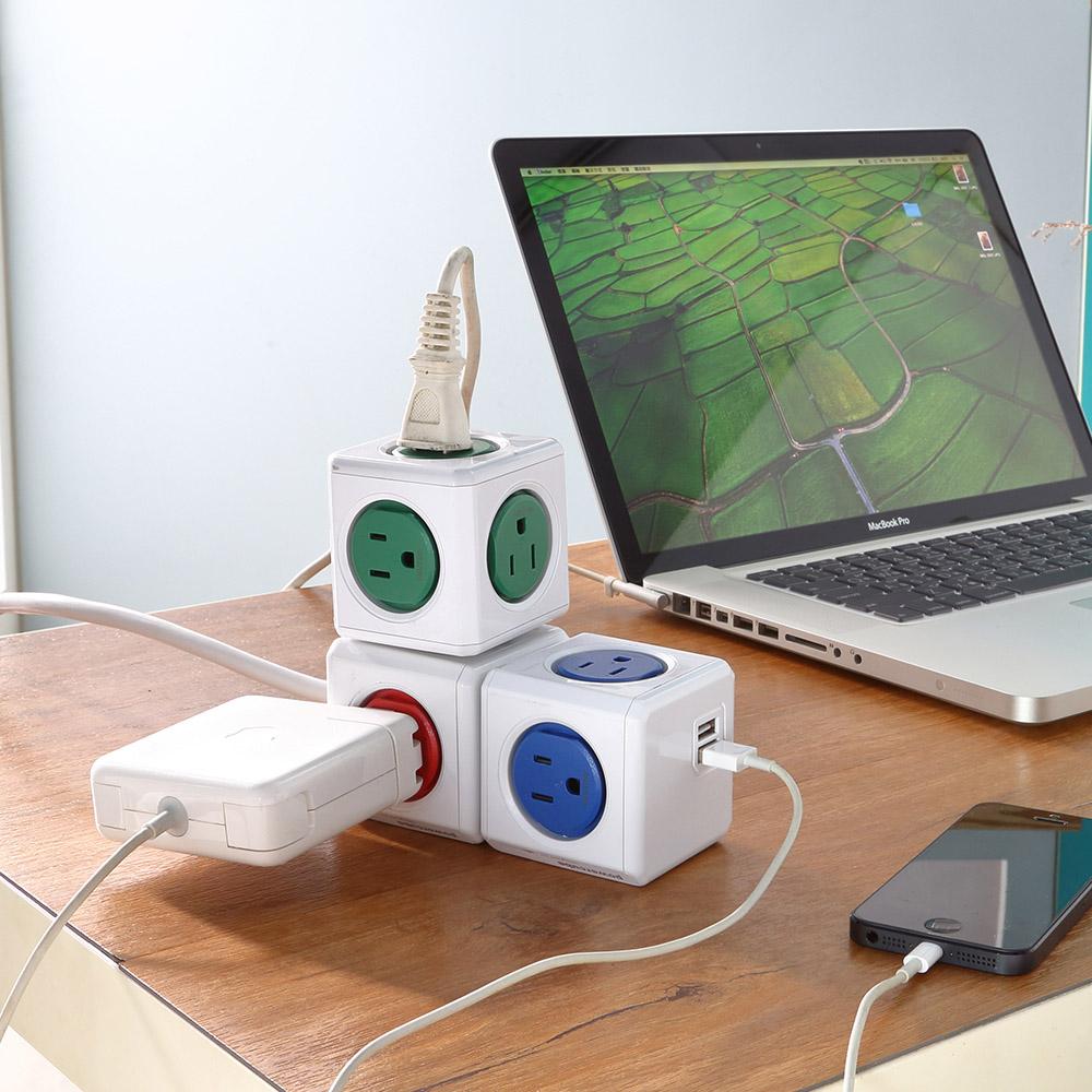 Allocacoc  PowerCube 雙USB擴充插座 - 藍色(4面插座、3孔、2埠USB)