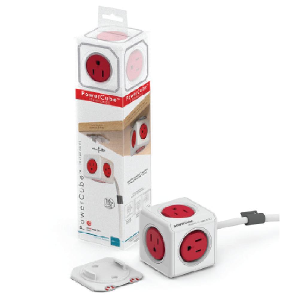 Allocacoc  PowerCube 延長線 - 紅色(5面插座、3孔、線長3公尺)