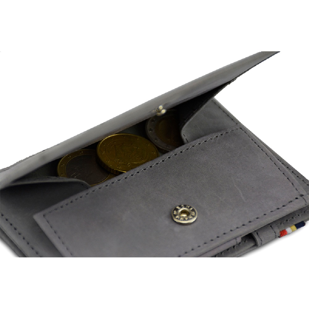 GARZINI|比利時翻轉皮夾 - 零錢袋款 - 淺灰色