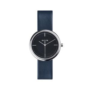RUYEN|38mm 經典系列 (黑色錶面深藍色皮錶帶)