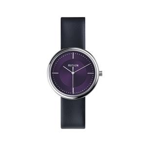 RUYEN|38mm 經典系列 (紫色錶面黑色皮錶帶)