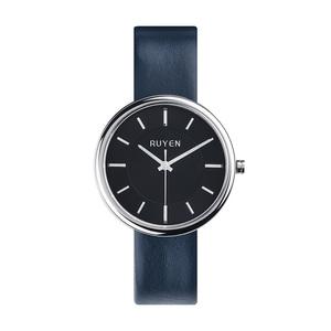 RUYEN|44mm 經典系列 (黑色錶面深藍色皮錶帶)