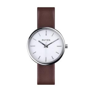 RUYEN|44mm 經典系列 (白色錶面棕色皮錶帶)